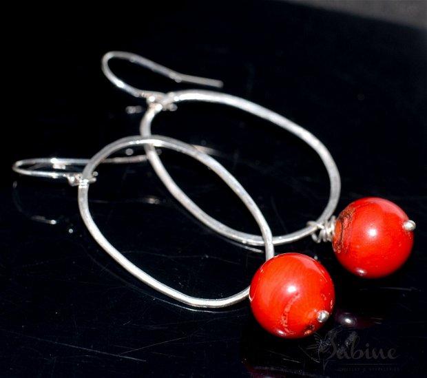 Cercei argint cu margele de coral roşu, cercei lungi