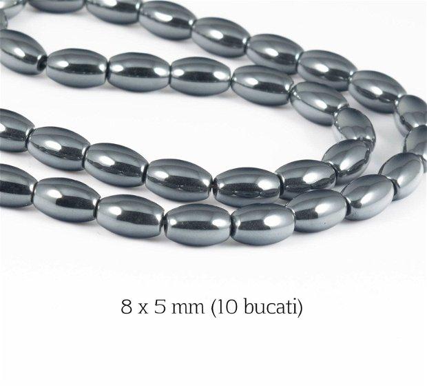 Hematit sintetic (10 bucati), 8 x 5 mm