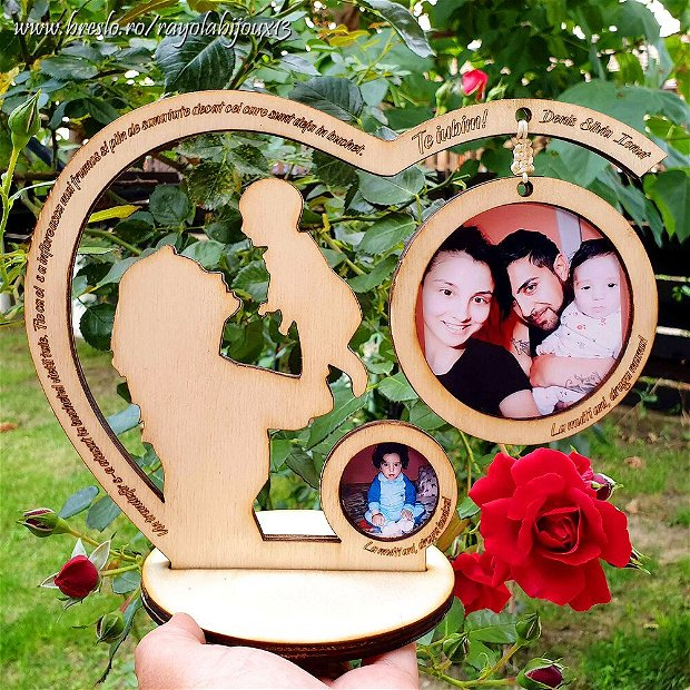 Rama foto personalizata - 2 poze - lemn lacuit
