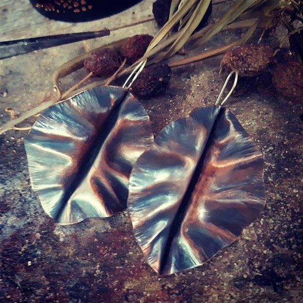 Cercei lungi supradimensionati din argint 925 si cupru partial oxidat