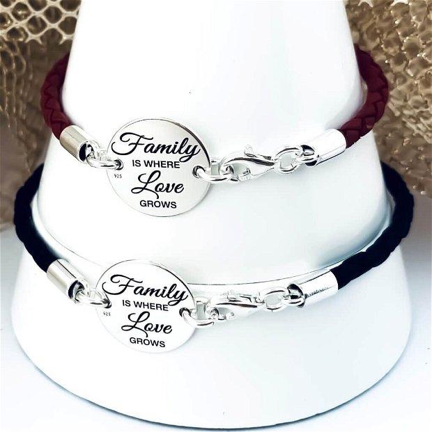 Family - set bratari argint - bratari snur piele argint - bratari cuplu cu mesaj