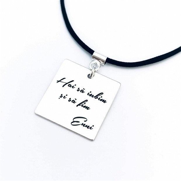 My First Love - colier argint barbati - mesaj personalizat - snur negru piele
