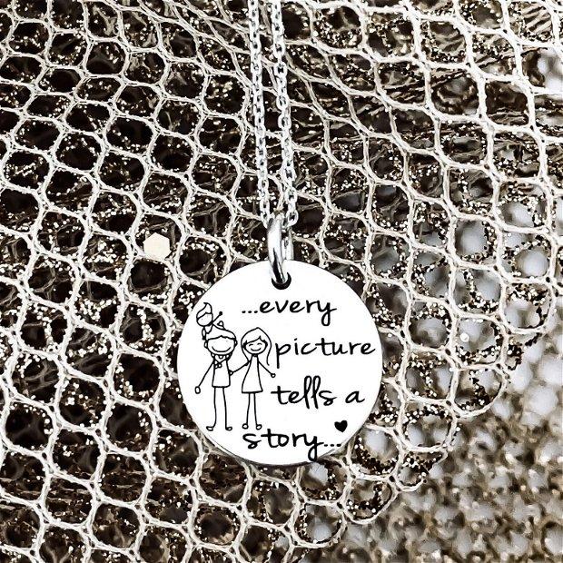 Every picture...- pandantiv argint cu mesaj - colier personalizat - lant argint