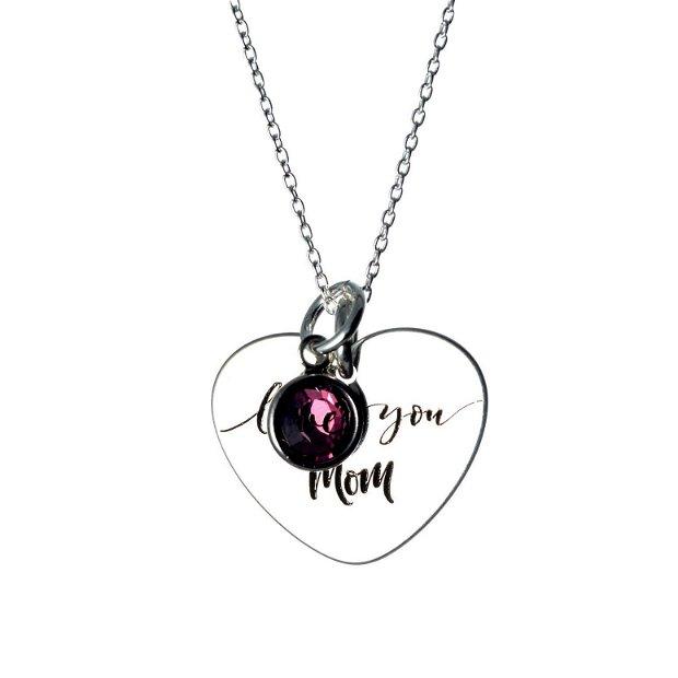 Love You Mom - inimioara argint personalizata - lant argint personalizat