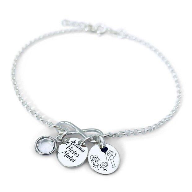 Sisters Forever - bratara argint personalizata - banuti argint