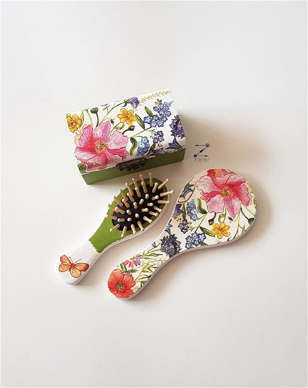Set flori, set cutie flori, set perie oglinda, set fetita flori, cutie flori, oglinda flori, perie flori
