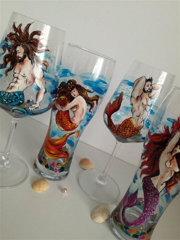 Sirene si oameni ai apelor - pahare pictate