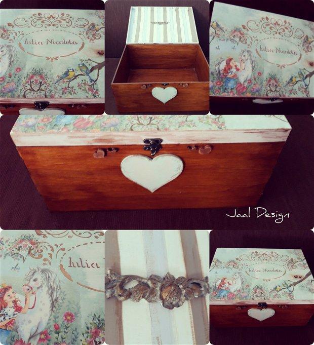 Cutie din lemn personalizata pentru trusou, botez, pastrarea amintirilor