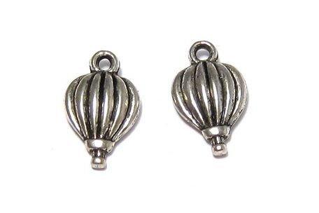 Pandantiv metalic, argintiu antichizat, balon, 21x13 mm