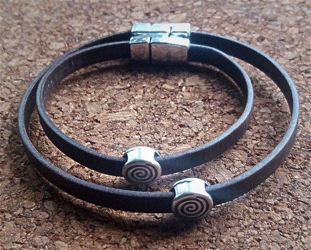 Bratara piele slider Spirala set pentru cuplu