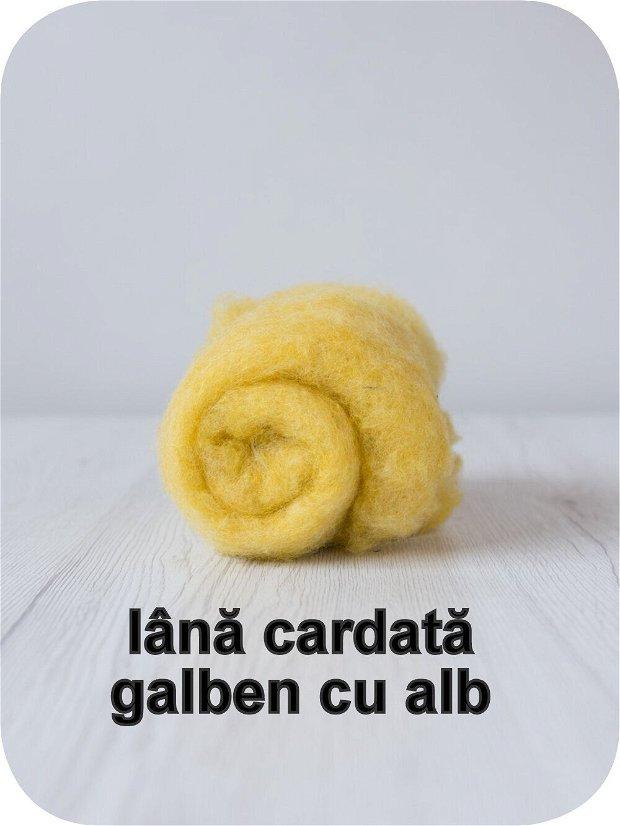 lana cardata-galben cu alb