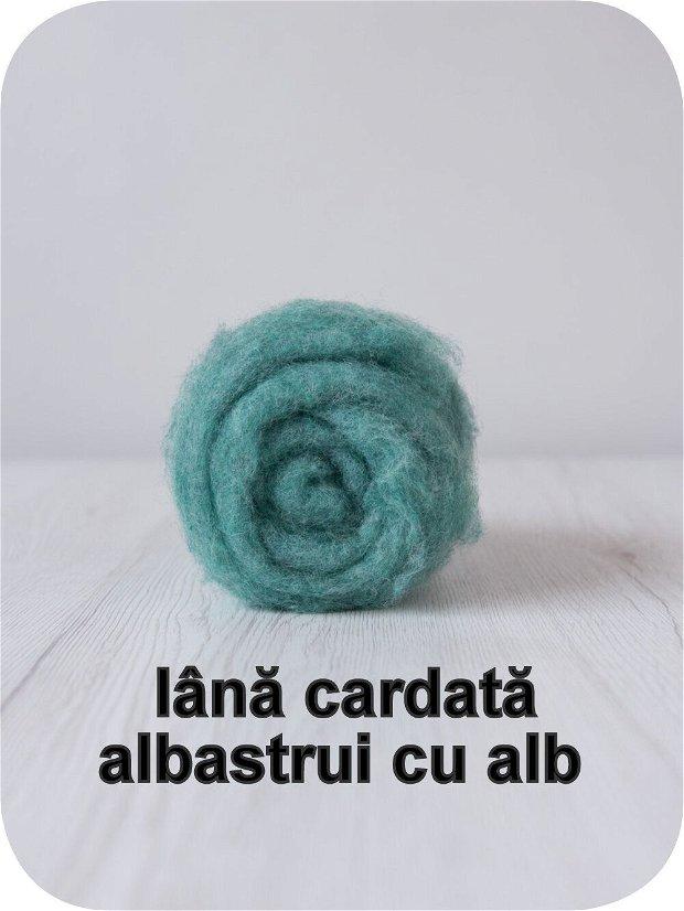 lana cardata-albastrui petrol cu alb