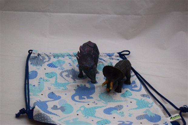 Săculeț/rucsac pentru grădiniță-dinosaur, sau echipament sportiv, zero waste