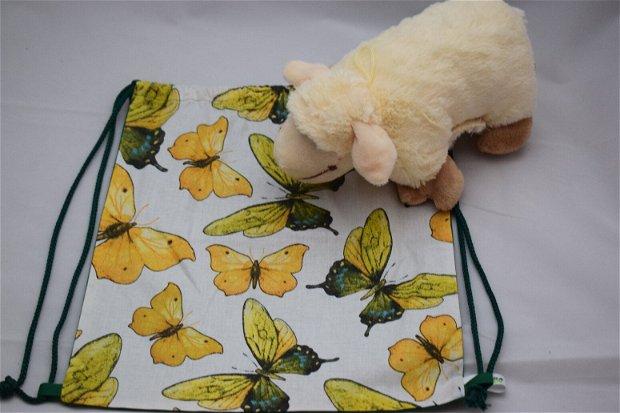 Săculeț/rucsac pentru grădiniță-fluture, sau echipament sportiv, zero waste