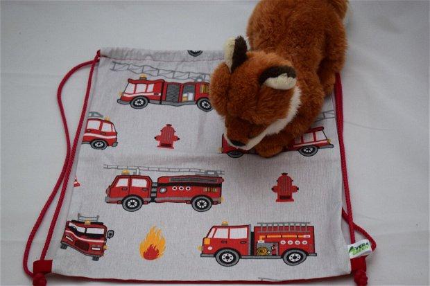 Săculeț/rucsac pentru grădiniță-pompier, sau echipament sportiv, zero waste