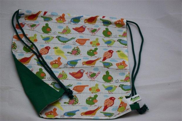 Săculeț/rucsac pentru grădiniță-păsărele, sau echipament sportiv, zero waste