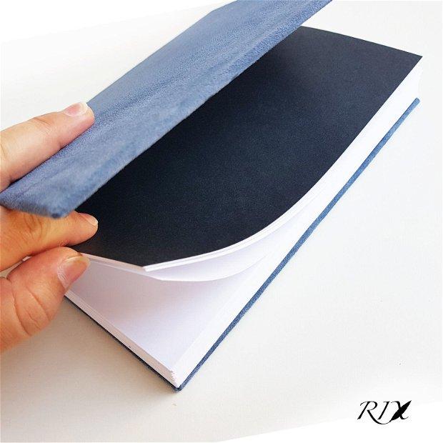 Jurnal (mare) - cu copertă de piele naturală albastră