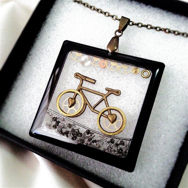 Bicicleta steampunk cu Piese de ceas prinse in rasina ecologica, i love bike
