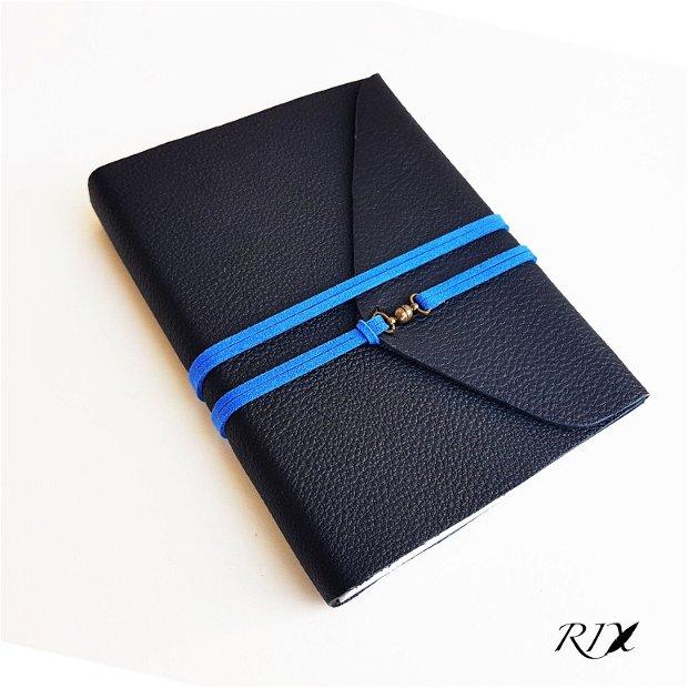 Jurnal (mediu) de călătorie - Jurnal de călătorie cu copertă de piele naturală neagră, șnur albastru
