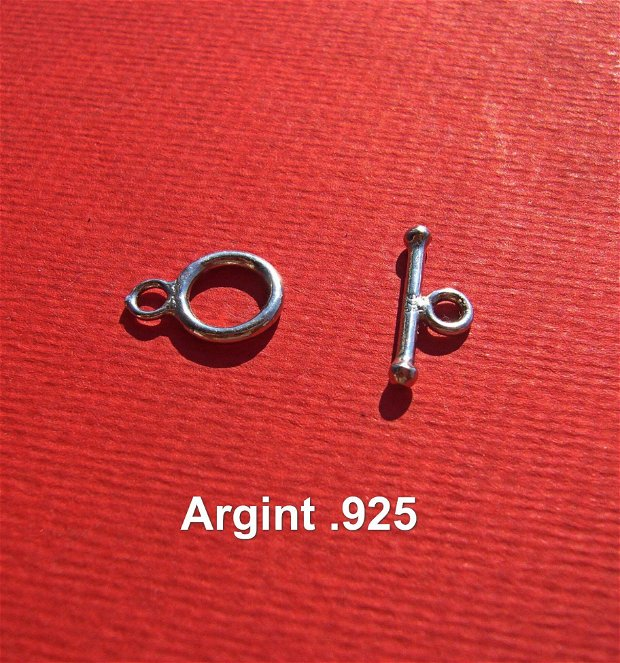 Inchizatoare toggle din argint .925 rodiat aprox 9x13 mm cu 15x6 mm