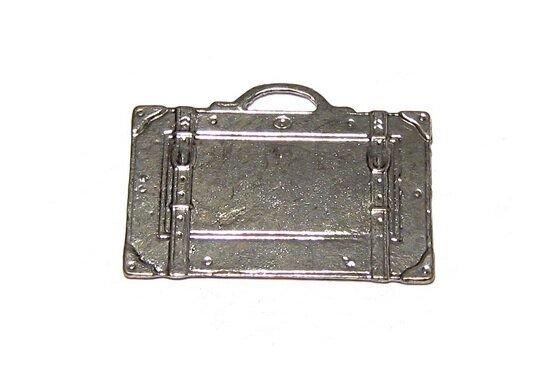 Pandantiv metalic, argintiu antichizat, valiza, 27.5x39 mm