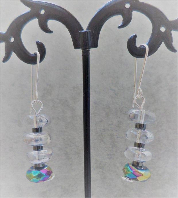 Set bratara si cercei din sticla electroplacata cehia si hematit - Transparency