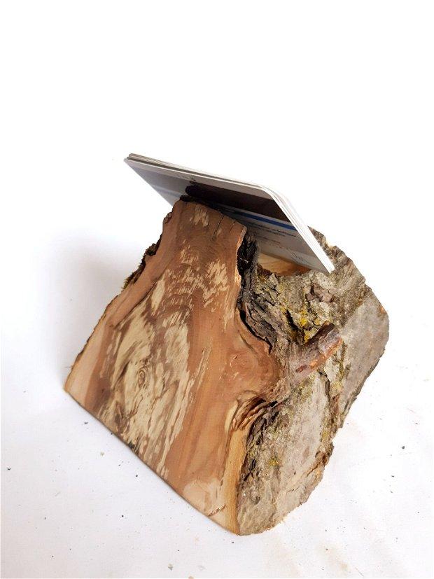 Suport lemn pt telefon, carti de vizita si pix.