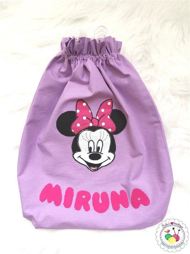 Saculet gradinita personalizat - Minnie mov