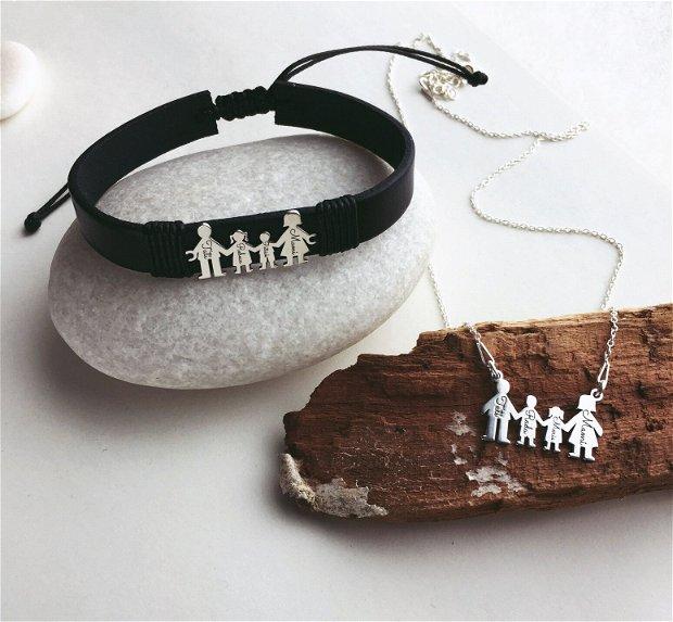 Colier pentru mama - Family - colier gravat familie - colier familie din argint 925