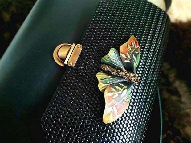 Geanta Piele Neagră Fluture