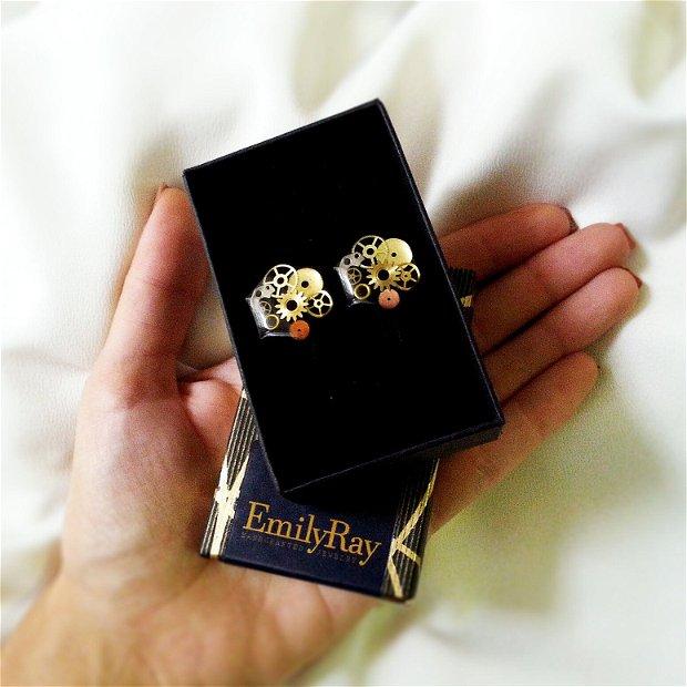 Butoni negri cu piese de ceas in rasina, butoni de camasa costum nunta unicati