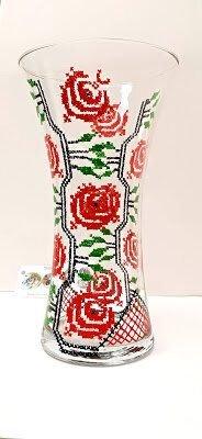 Vaza sticla model traditional romanesc