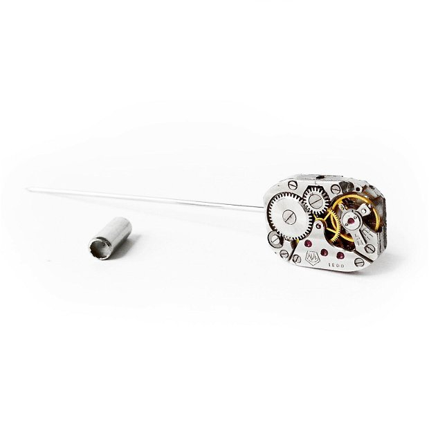Ac de rever, de piept, pentru lavaliera, ac de costum, accesorii steampunk, mecanism de ceas, piese de ceas