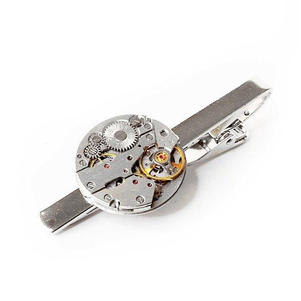 Ac de cravata cu mecanism de ceas vintage, accesorii pentru costum camasa, accesorii steampunk