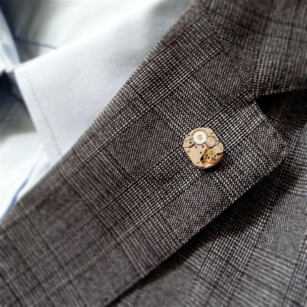 Insigna pin cu mecanism de ceas, accesorii pentru costum camasa, accesorii steampunk
