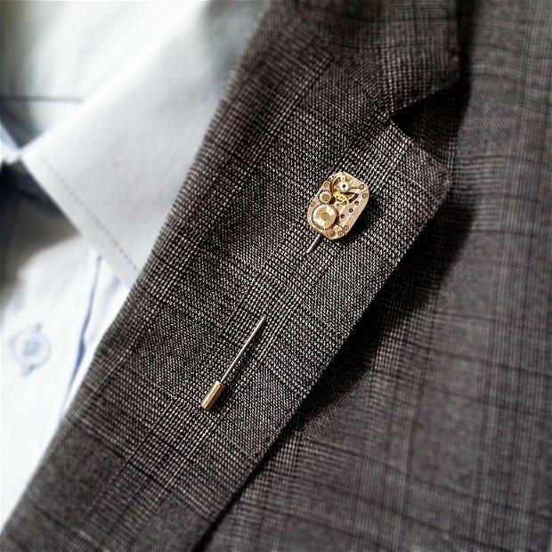 Set cadou ac de piept si butoni camasa costum, mecanism de ceas steampunk, brosa pin de rever lavaliera