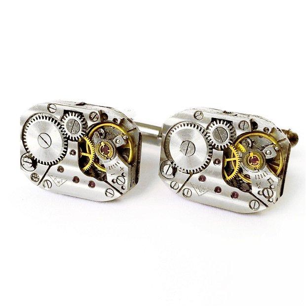 Set cadou ac de cravata si butoni camasa costum, mecanism de ceas steampunk, accesorii sacou pentru el