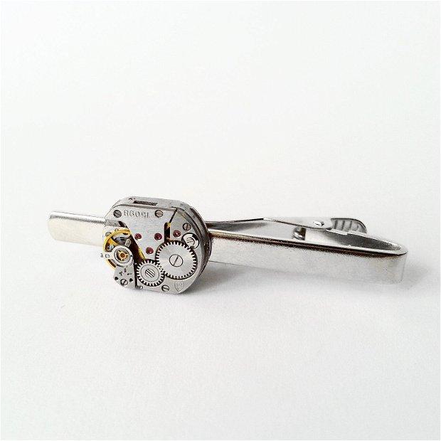 Ac de cravata cu mecanism de ceas, ac de costum, accesorii steampunk, piese de ceas