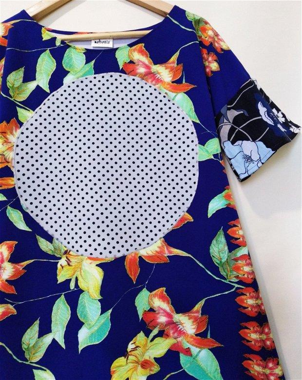"""Rochiță/tunică albastră cu buline și flori """"Puncte-puncte"""""""