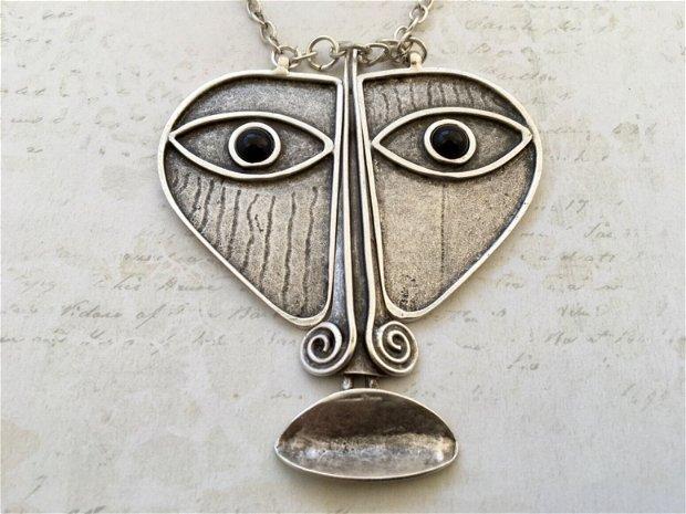 Colier tribal zamac argintat