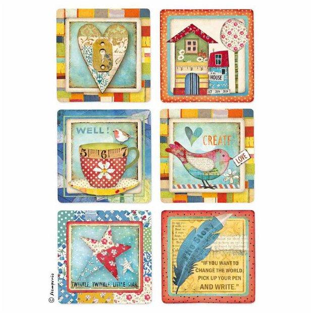 Hartie de orez pt. decoupage A4- Patchwork cards (34957)-PP-HO-A4