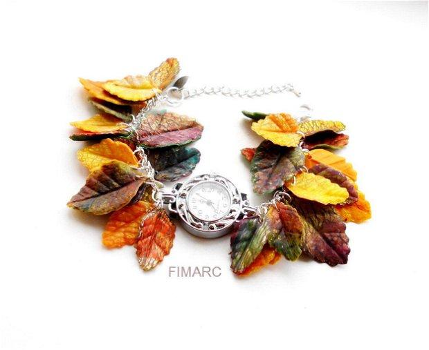 ''Frunze de toamna''- bratara cu ceas functional