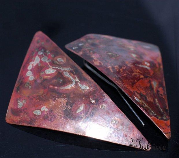 Cercei cupru si argint 925, cercei lungi, cercei triunghiulari, cercei contemporani