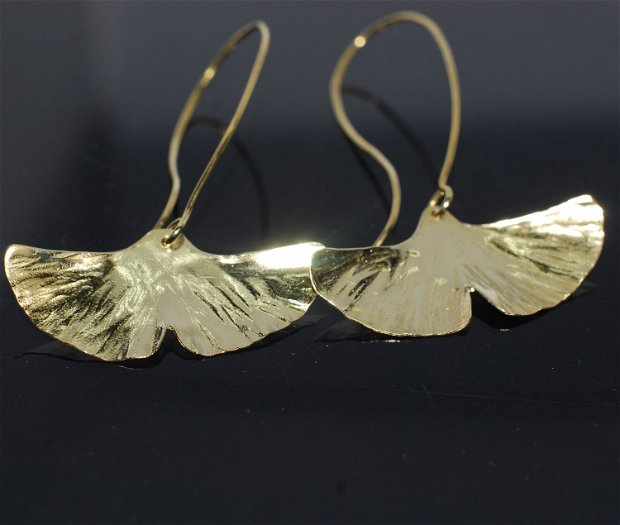 Cercei din alama frunze ginkgo biloba, cercei lungi argint, cercei statement, cercei handmade