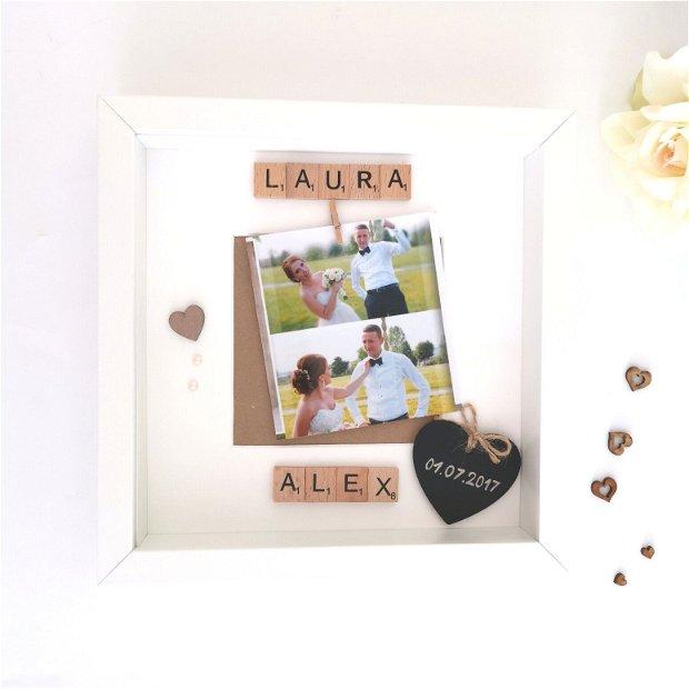 Rama foto personalizata | Rama foto cununie | Rama foto nunta | Decor cu nume | Cadou aniversare | Personalizat cu nume si data