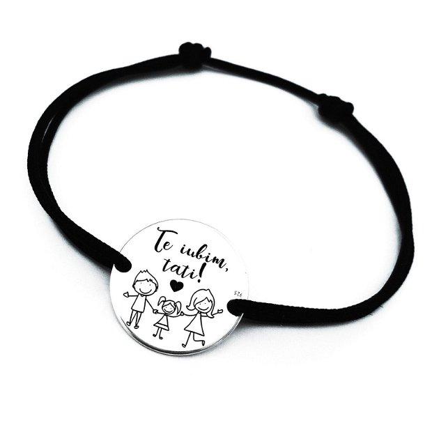 Te Iubim Tati - Bratara personalizata argint pentru tatici