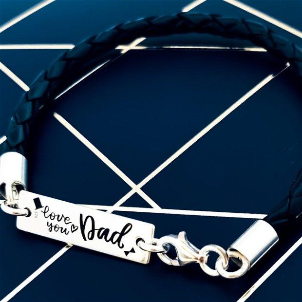 Love You Dad - Bratara tatici personalizata argint&piele