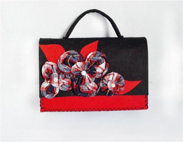 Geantă cu flori textile