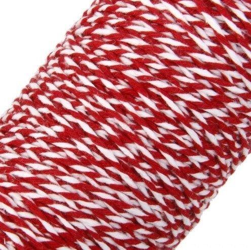 K0911 - (100m) Snur rasucit, bumbac, alb rosu, 2mm, martisor