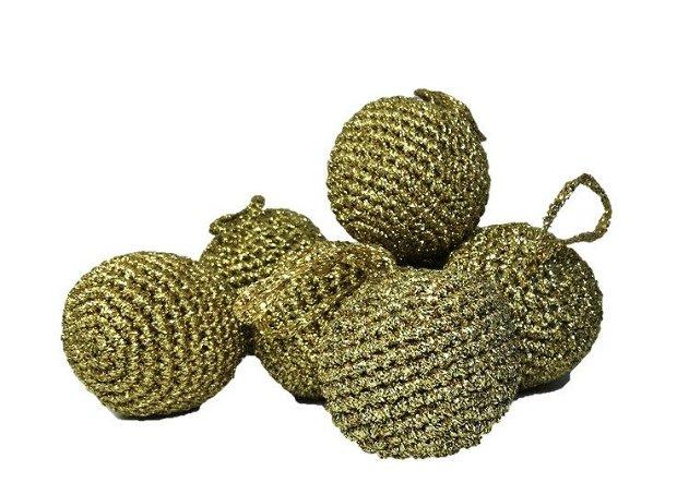 Glob Craciun, Handmade, Crosetat, Auriu, 5 x 5 cm